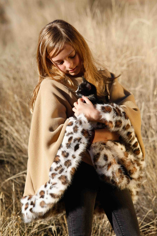 Girls Poncho or Cape in Tan Camel Colored Fleece with Lynx Leopard Faux Fur Trim - Cyndy Love Designs