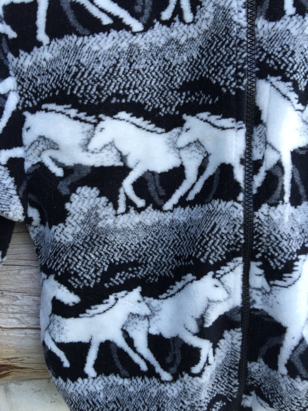 Kids Black and White Horse Fleece Zipper Jacket Kids Coat - Cyndy Love Designs