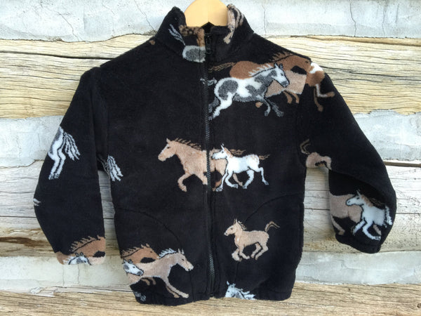 Kids Black and Tan Horse Fleece Zipper Jacket - Cyndy Love Designs