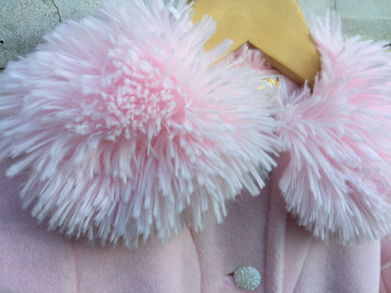 Pink Fur Trimmed Girls Coat - Cyndy Love Designs