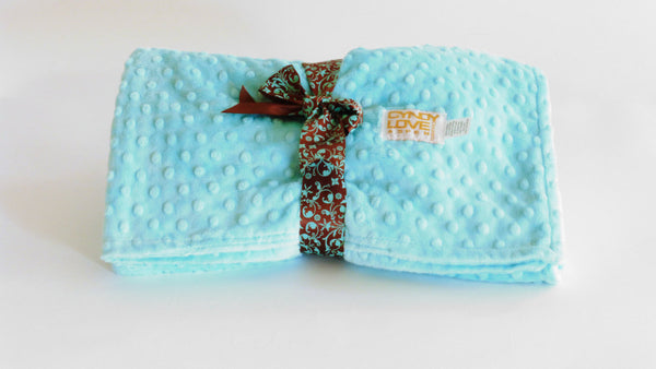 Baby Blanket Turquoise Blue Minky Dot Unisex - Cyndy Love Designs