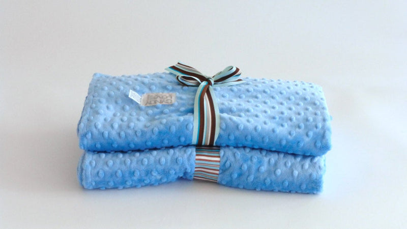 Baby Boy Blanket Blue Minky Dot - Cyndy Love Designs