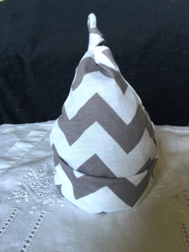 Gray and White Chevron Cotton Knit Baby Hat - Cyndy Love Designs