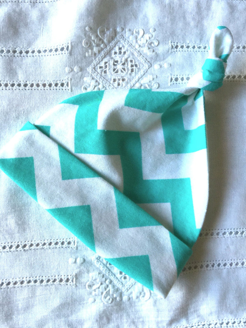 Green and White Cotton Chevron Knit Baby Hat - Cyndy Love Designs