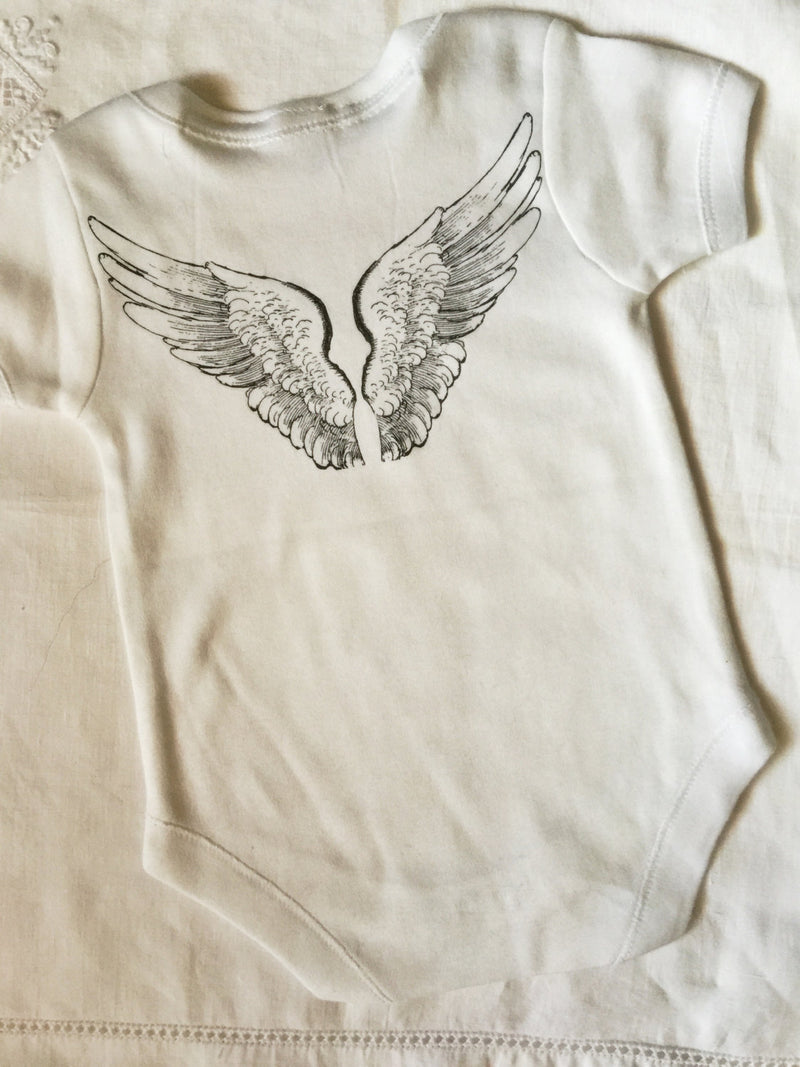 Cute Baby Bodysuit- Angel Wings, boy, girl - Cyndy Love Designs