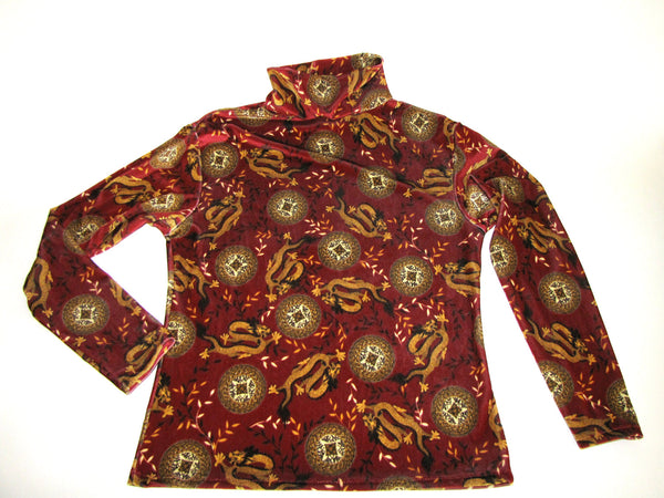 Womens Stretch Velvet Turtleneck Burgundy Red Chinese Dragon Print - Cyndy Love Designs