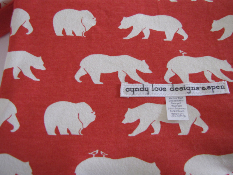 Organic Cotton Baby Blanket | Bear Print Natural Baby Blanket - Cyndy Love Designs