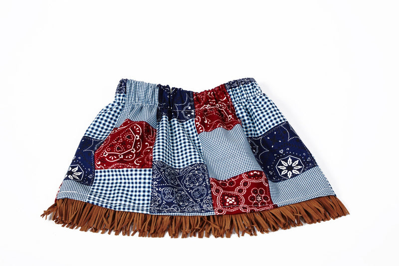 Little Girls Skirt Bandana Print with Fringe - Cyndy Love Designs