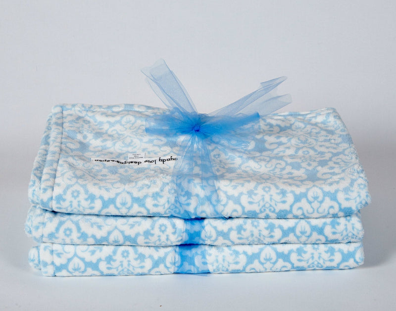 Unisex Baby Blanket Blue Damask Blanket - Cyndy Love Designs