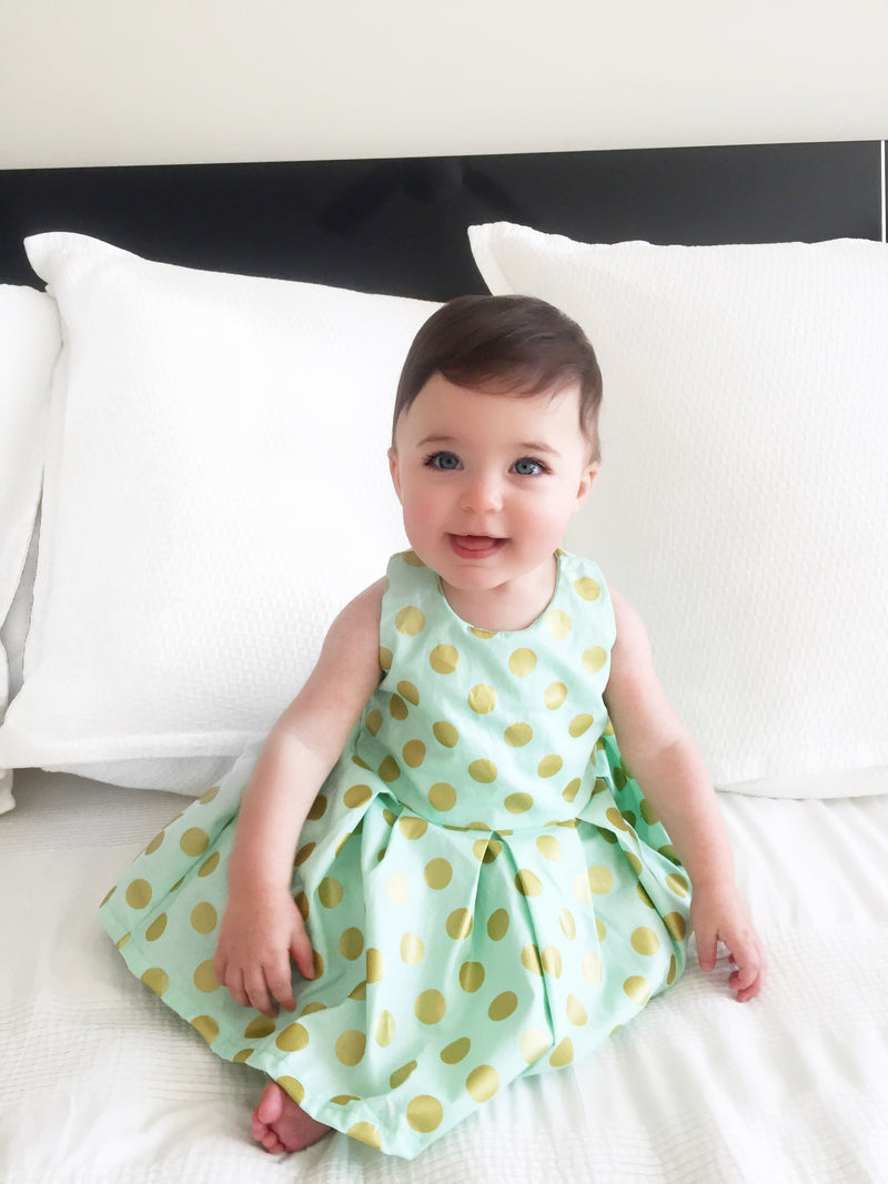 Little Girl Mint Green Gold Polka Dot Summer Beach Dress - Cyndy Love Designs