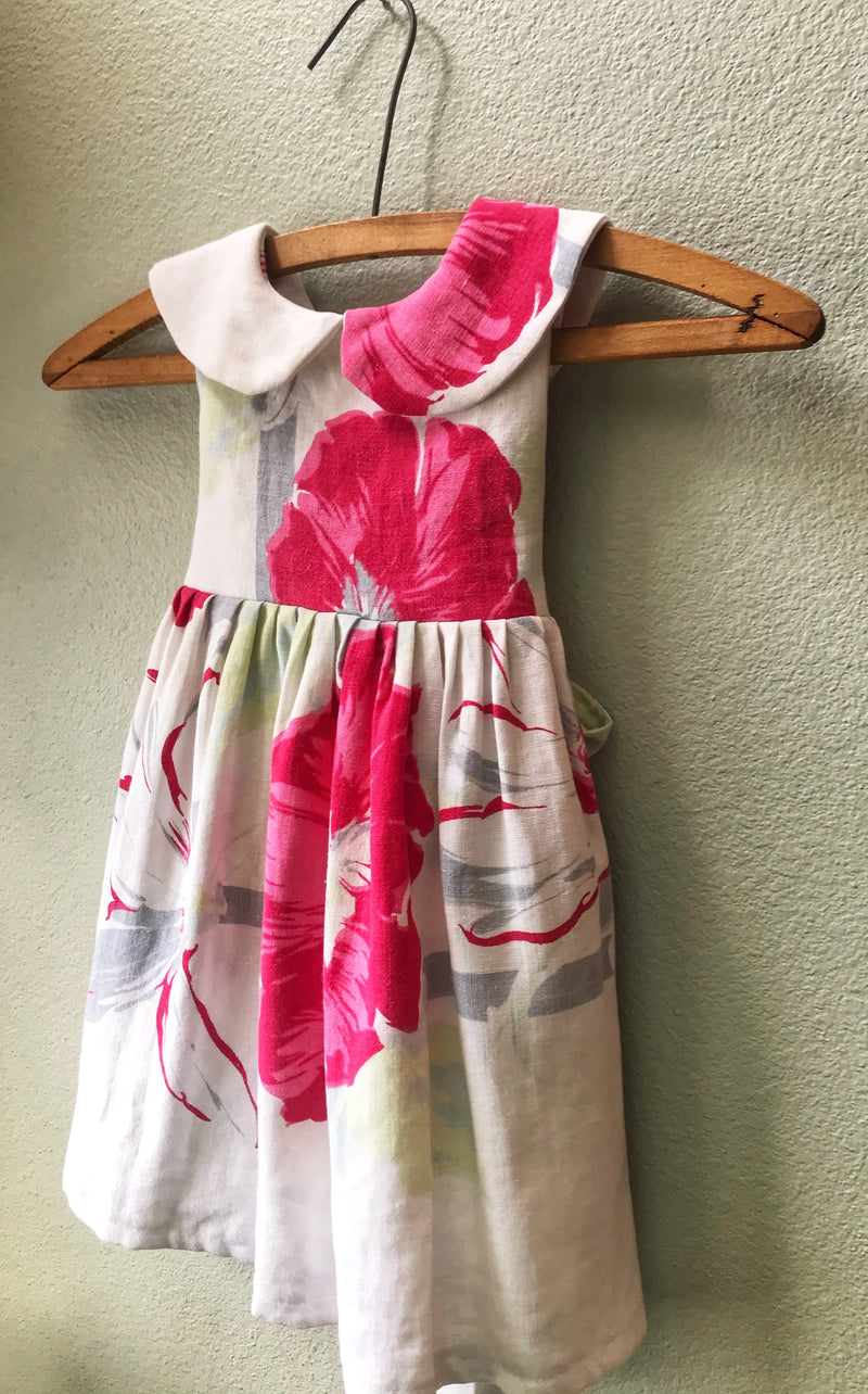 Little Girls Pink Vintage Linen Tablecloth Dress, Size 2, Antique Fabric, Vintage 1930's 40'sTablecloth - Cyndy Love Designs