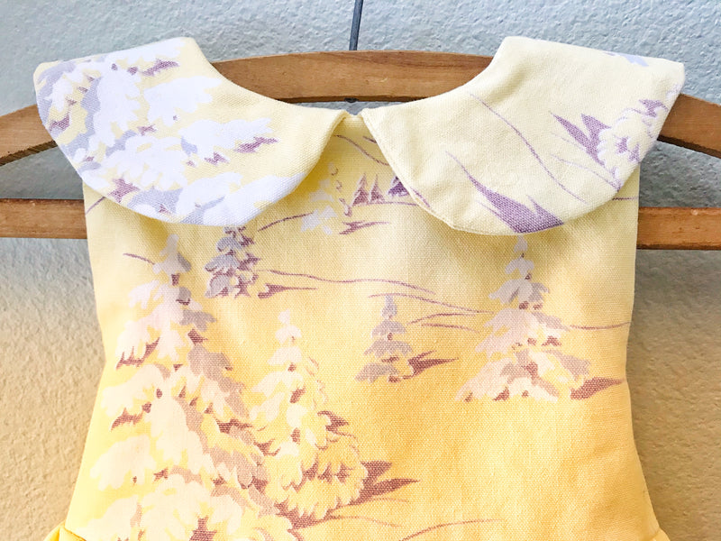 Little Girls Yellow Vintage Tablecloth Dress, Size 4, Antique Fabric, Vintage 1930's 40'sTablecloth - Cyndy Love Designs