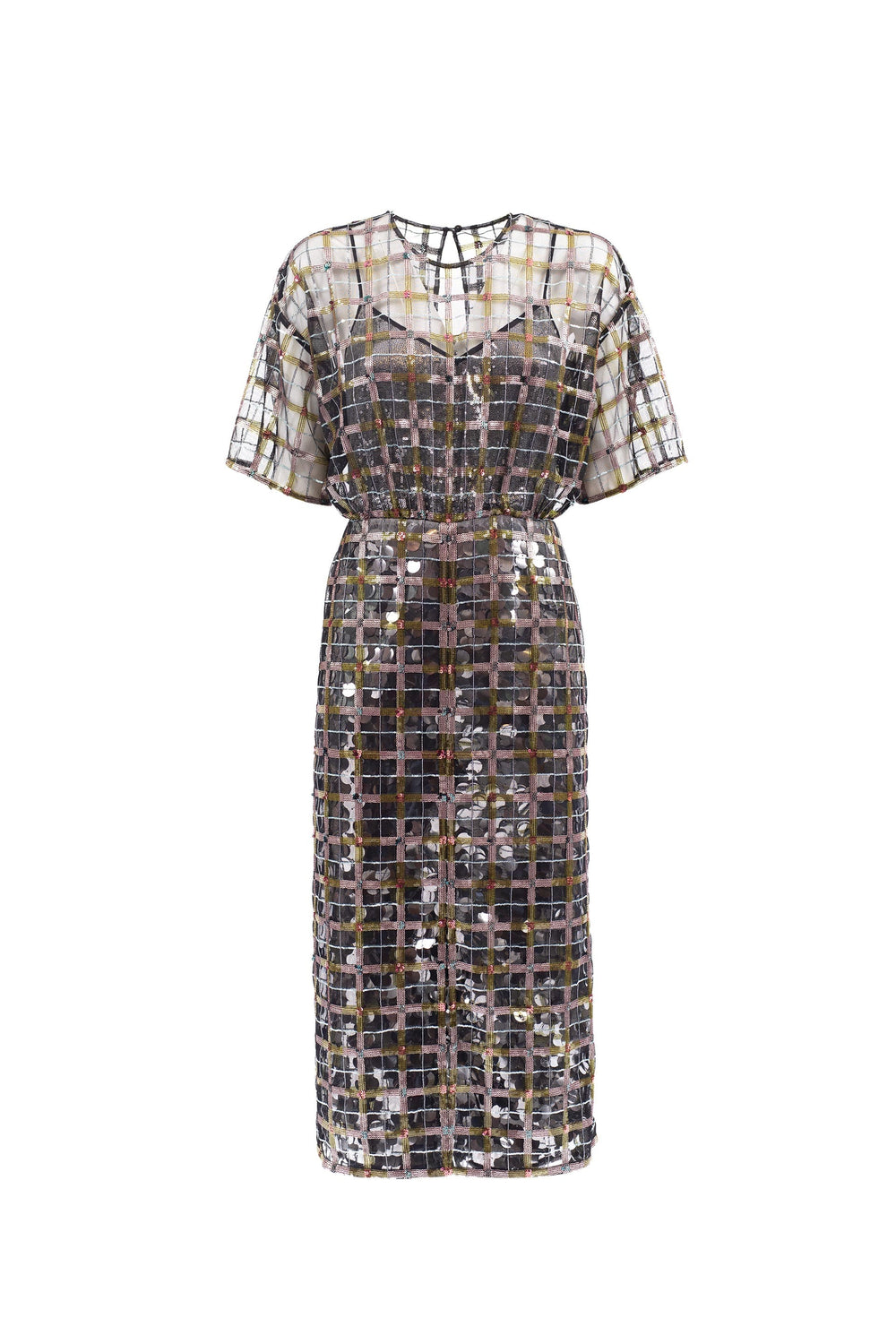 Plaid-effect sequined midi dress