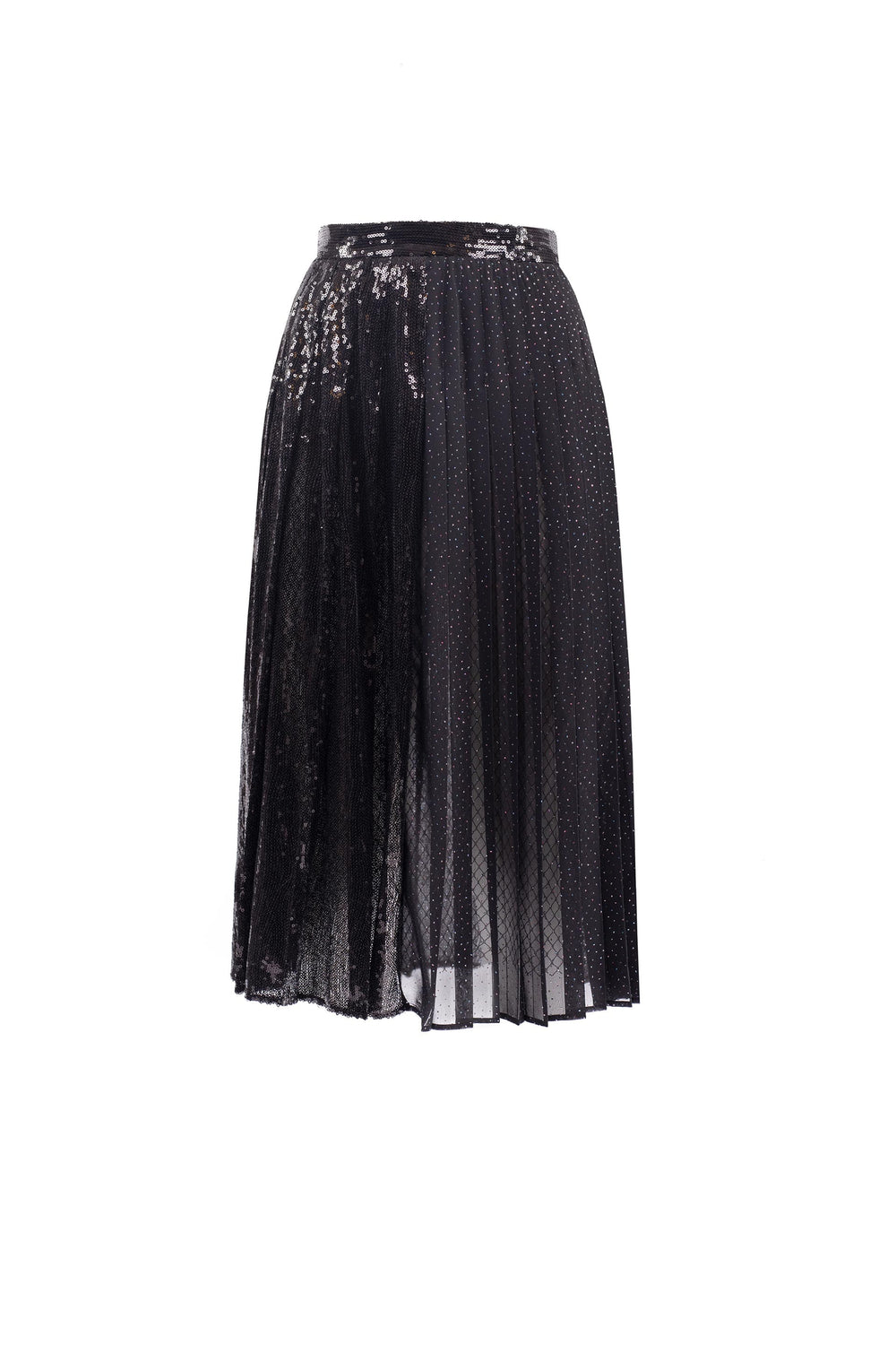 Pleated midi skirt with sequins