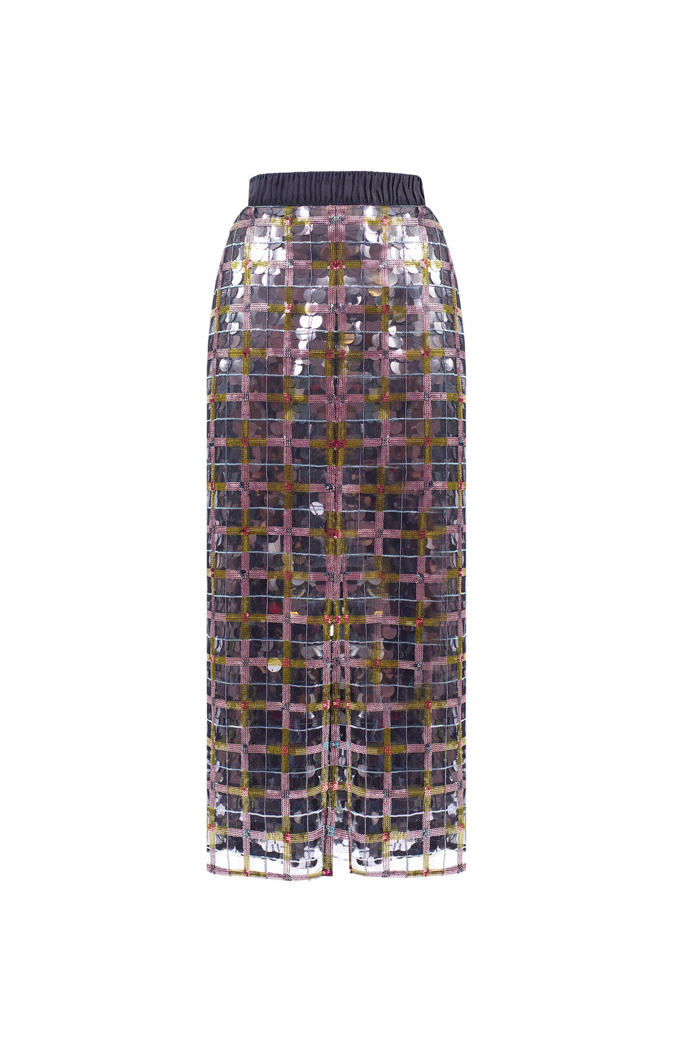 Sequin skirt with plaid motif