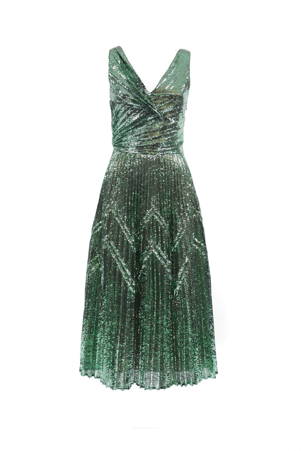 Pleated sequined midi dress