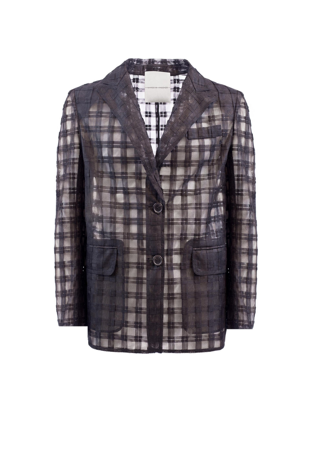 Single-breasted checked tulle jacket