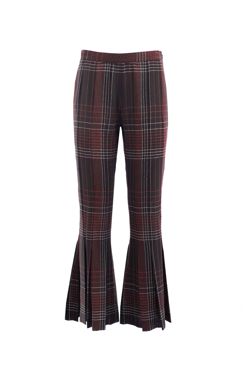 Checked flared trousers