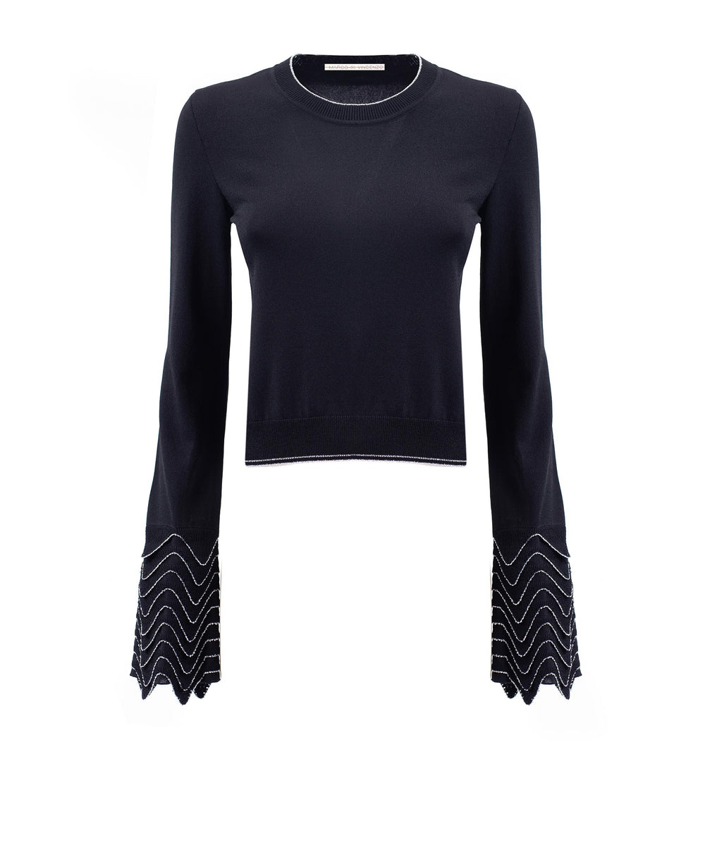 Pullover with wave motif sleeves