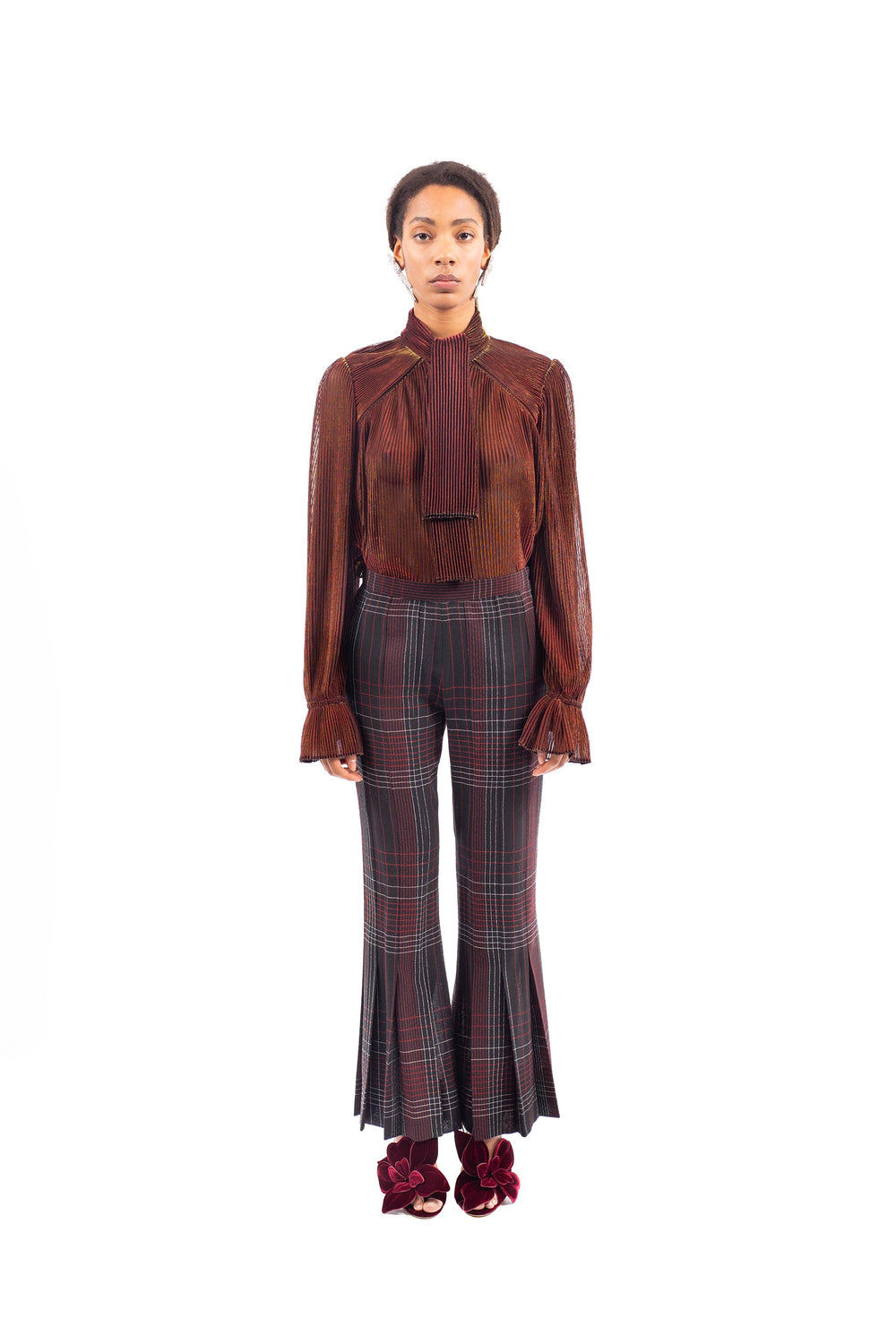 Pleated Lurex blouse