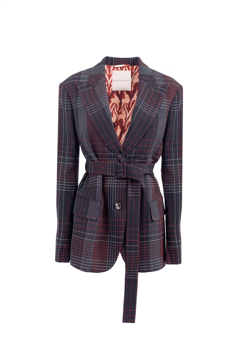 Checked jacket with belt