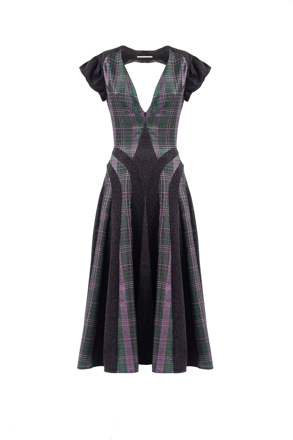 Midi dress with plaid insert