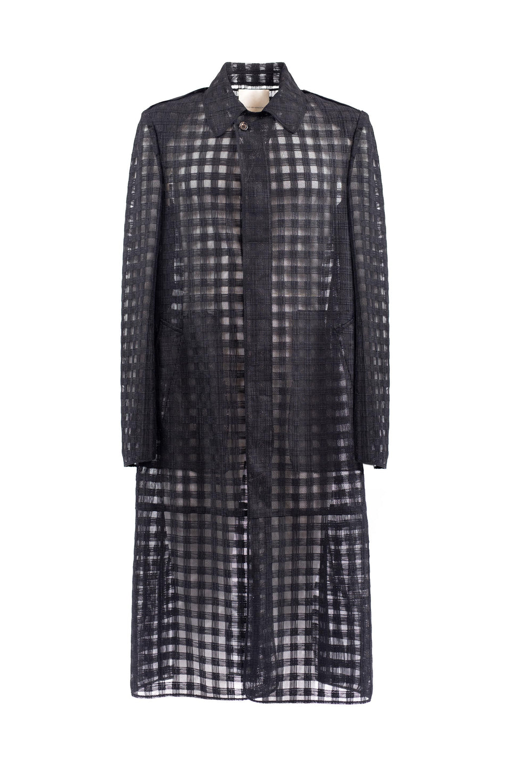 Checked tulle trench coat
