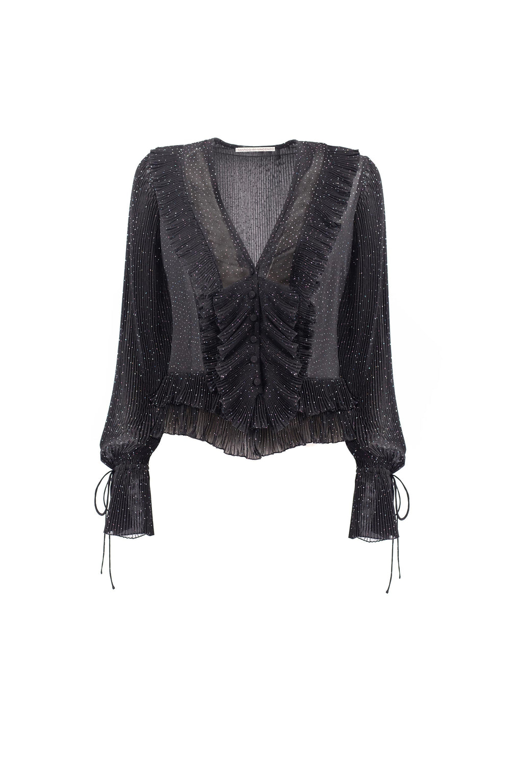 Ruffled blouse with pleated details