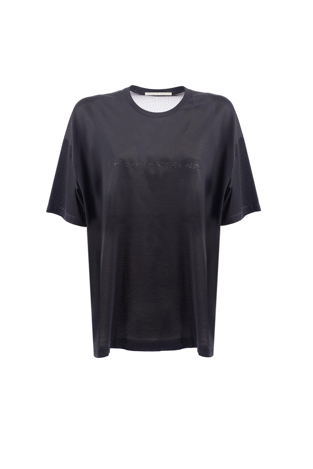 Oversized T-shirt with rhinestone logo