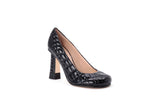 Croc-quilted Patent Eco-leather Pump