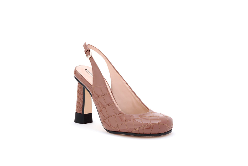Croc-quilted Patent Eco-Leather Slingback