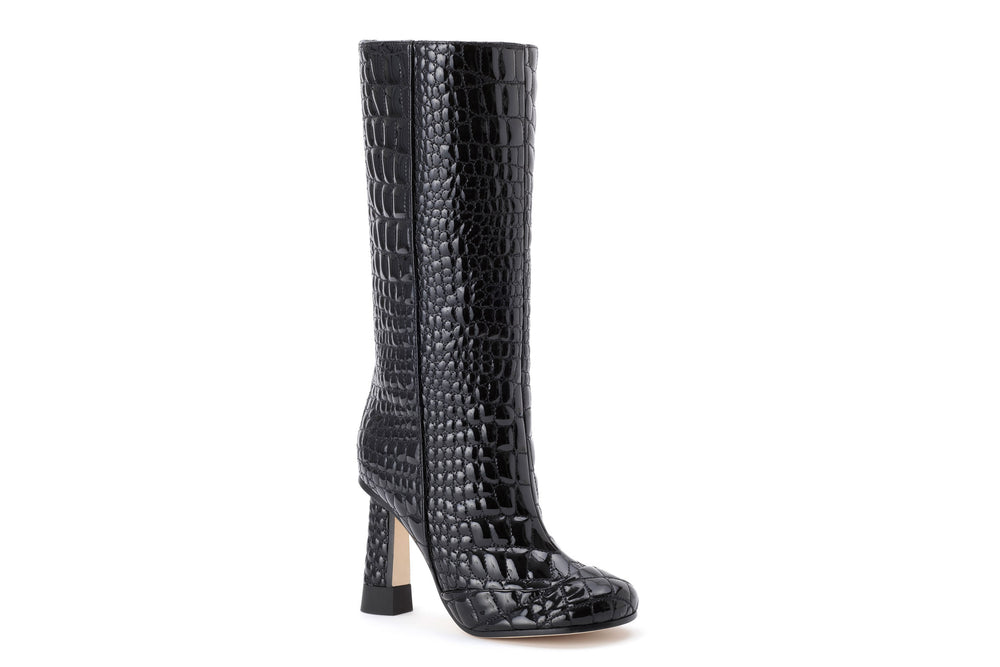 Croc-quilted Patent Eco-Leather Boots