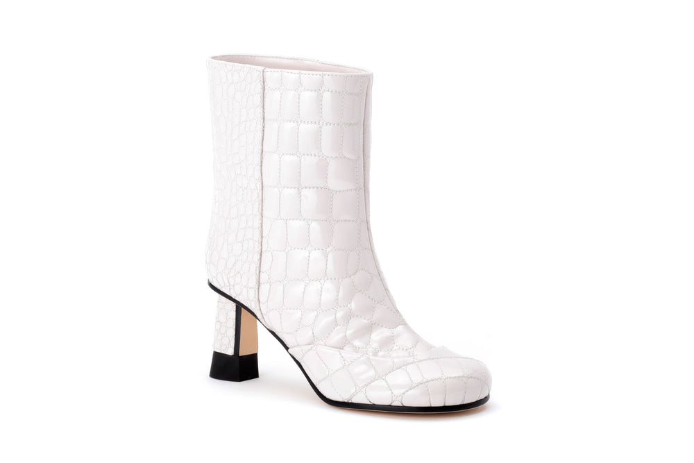 Croc-quilted Patent Eco-Leather Ankle Boots