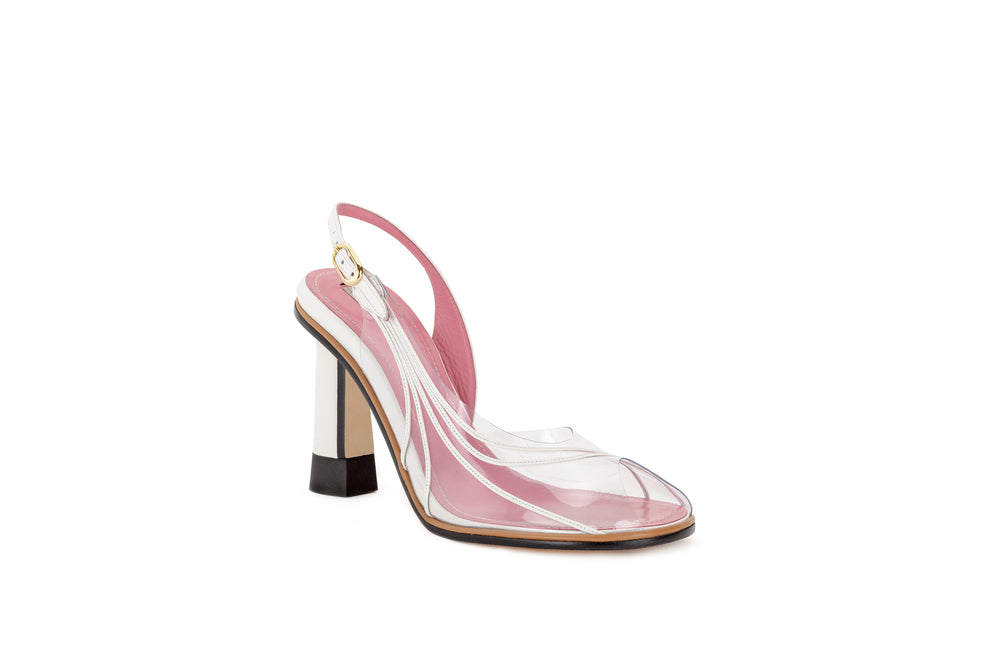 Pvc and leather slingback