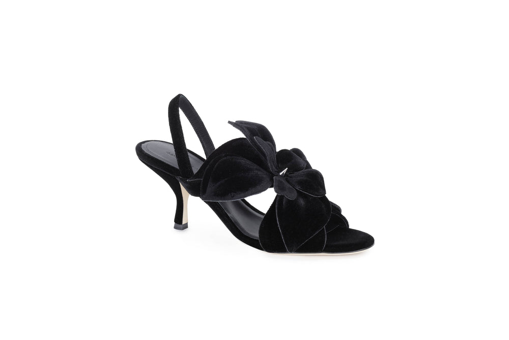 Mid-heel sandals with velvet flower