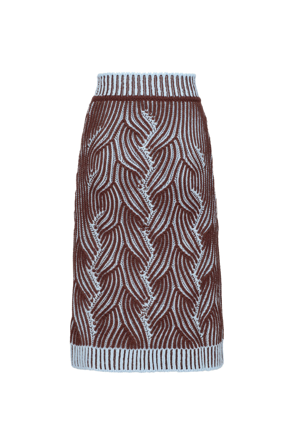 Cable-knit Bicolor Skirt