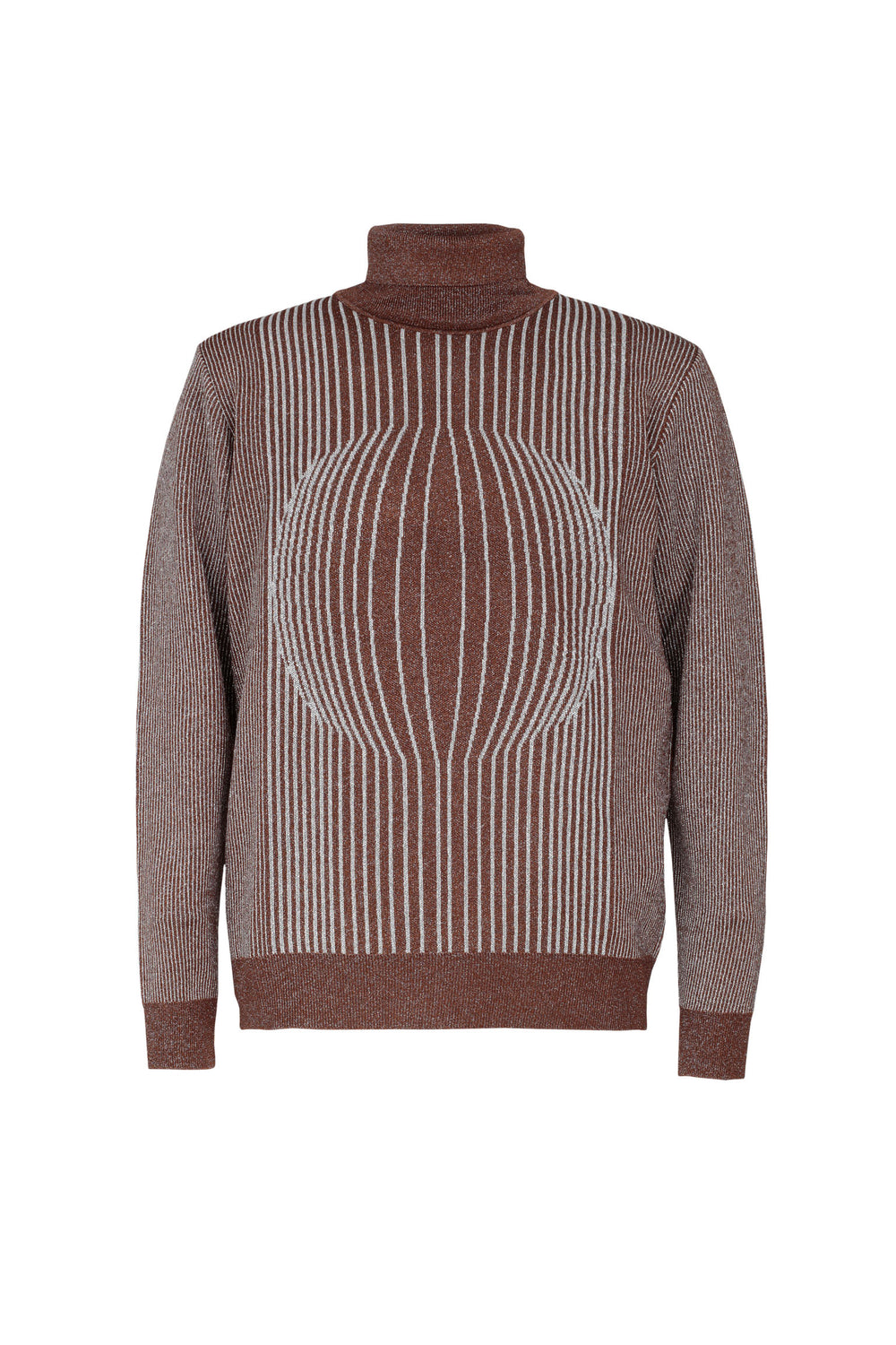 Optical Lurex-trimmed Turtleneck Jumper