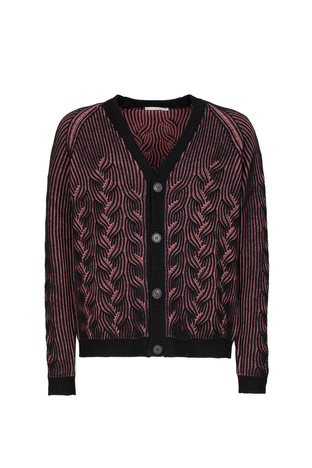 Cable-knit Bicolor Cardigan
