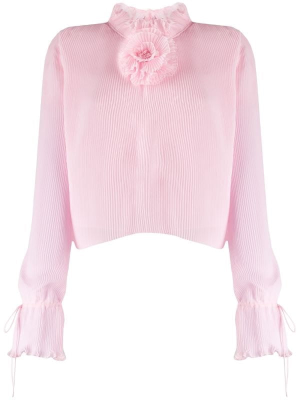 Long-sleeved Pleated Blouse