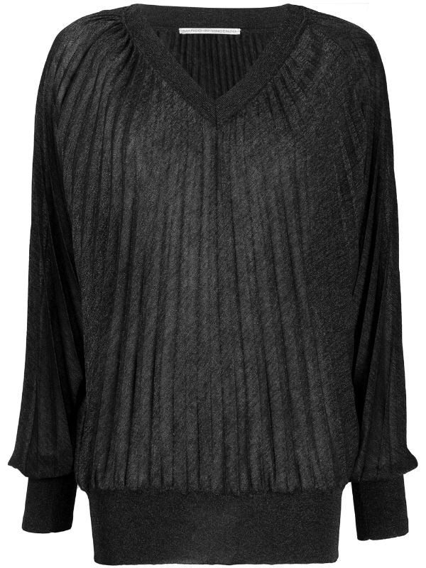 V-neck Pleated Jumper