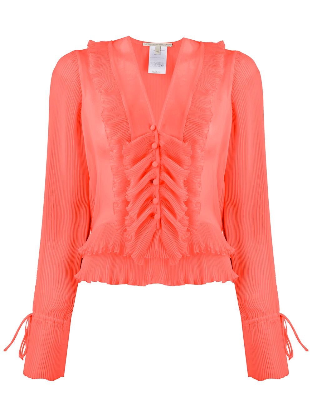 RUFFLE BLOUSE WITH PLEATED DETAILS