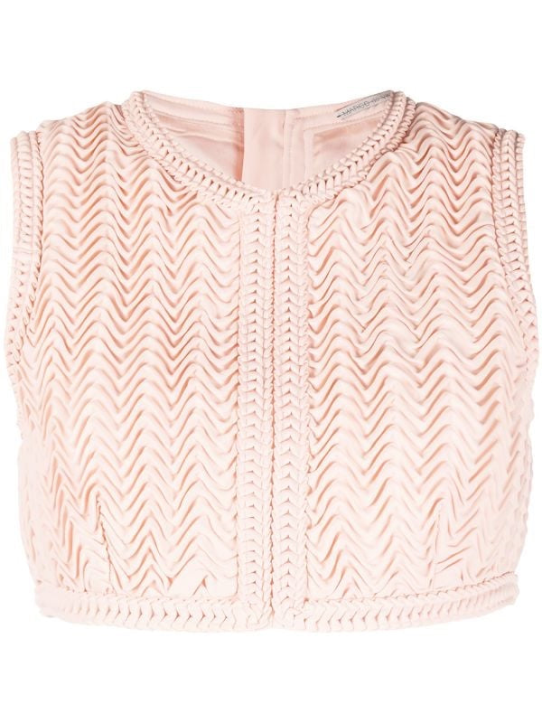 Zig-zag Pleated Crop Top