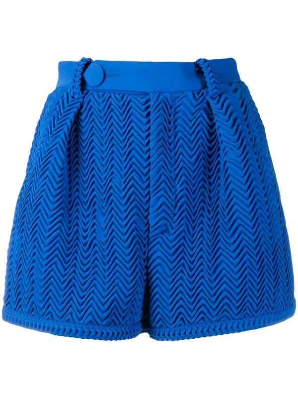 Pleated shorts blue