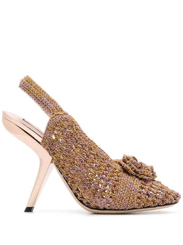 Embellished Crochet Pumps