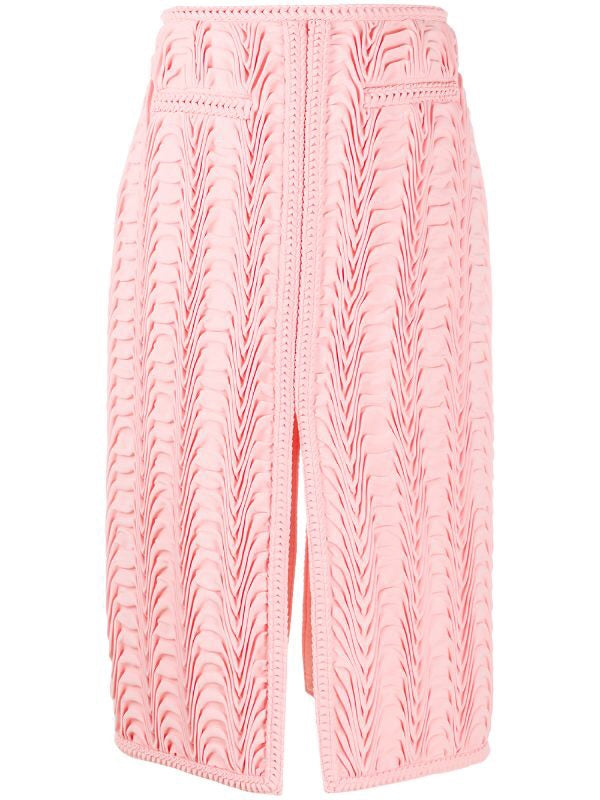 Pleated Front-Split Skirt