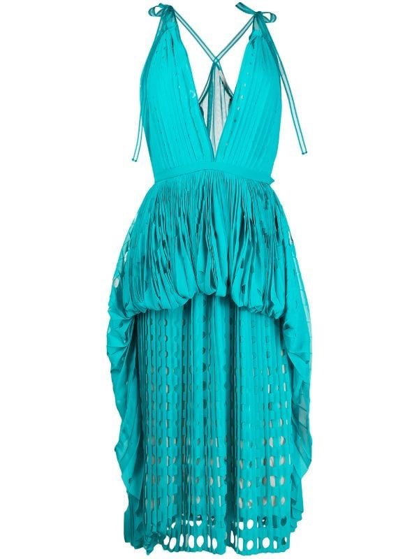Cut-Out Pleated V-neck Dress