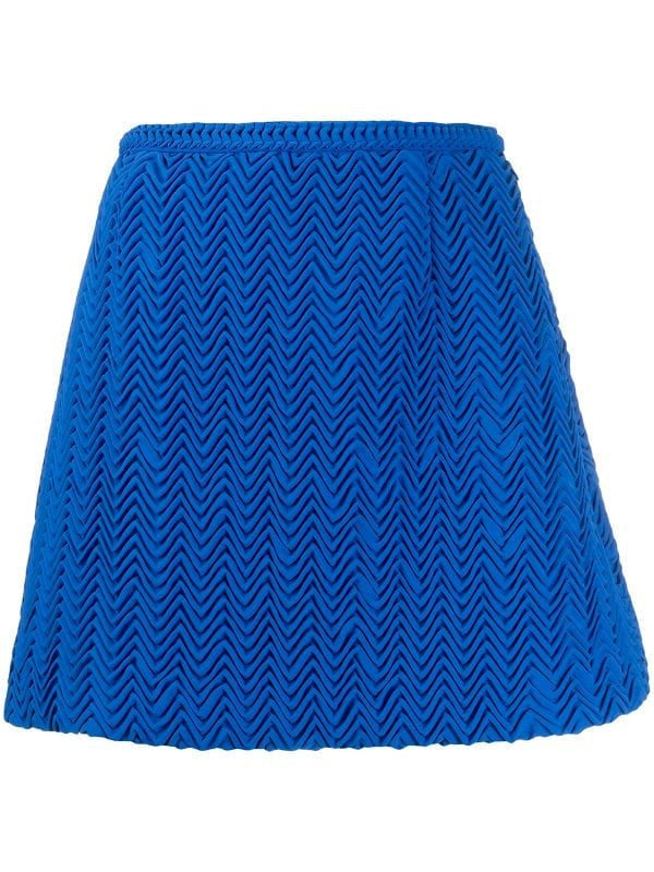 Pleated Zig-zag Mini Skirt