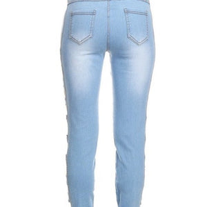 Light Blue Denim Stretch Jeans Cut Out Sides