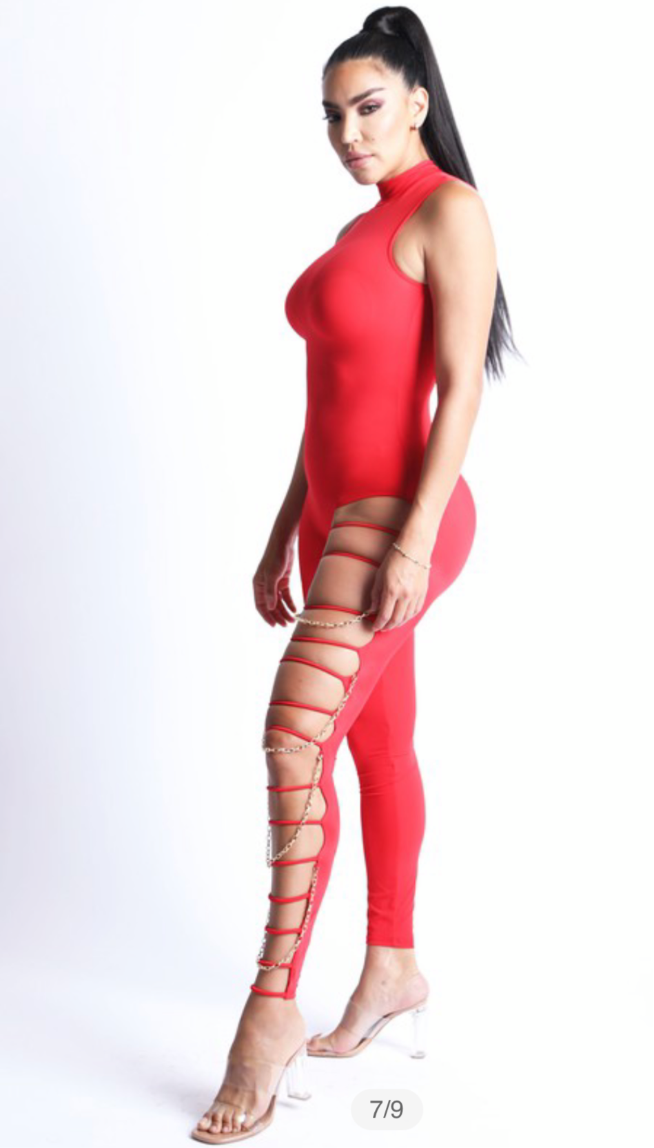 Women's Red Gold Chain Jumpsuit