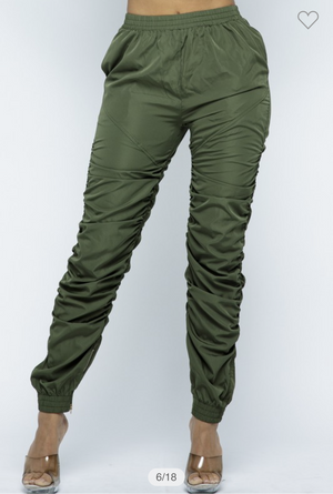 Olive Green Stack Pants Stretchy